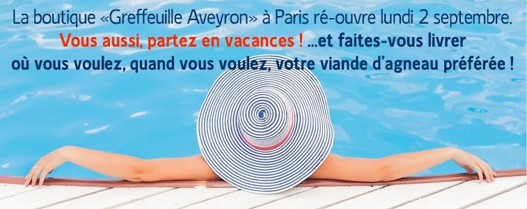 Fermeture annuelle Boutique Greffeuille Aveyron à paris